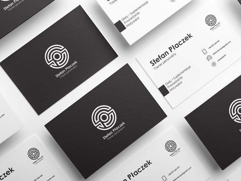 Business Card - Monogram // Stefan Płaczek minimal typography branding vector principle designer design business card mockup business card design business card business trainers gym monogram logo print prints