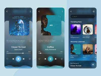 Music Player Mobile App mobile ui mobile song card song blur gradient playlist play music player ui player music app colors audio player audio app music player app design audio music app