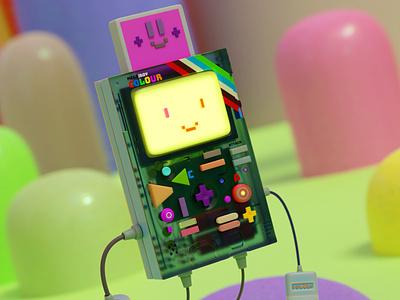 meg/boy colour blender 3d toy robot vector cute adventure characters illustration