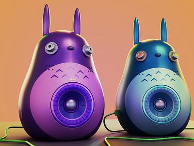ghibli speaker 3d blendercycles blender hifi design speakers ghibli