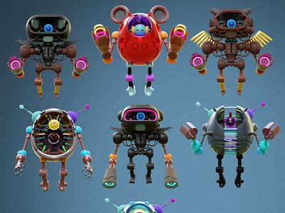 pokedstudio bots nft cute cycles characters blender 3d illustration