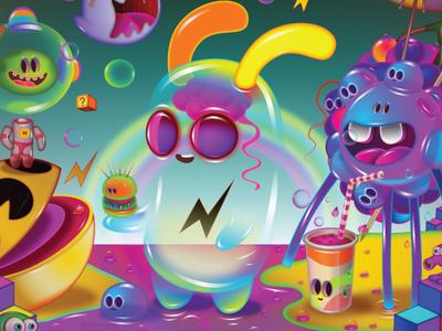 feeding pac-man videogames characters affinitydesigner vector illustration