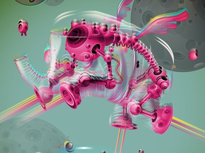 Elephant robot elephant characters illustration affinitydesigner vector art vector