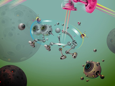 space dog art bubble space vector affinitydesigner