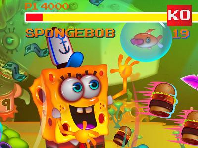 Spongebod V Streetfighter cartoon retro aracde streetfighter spongebob