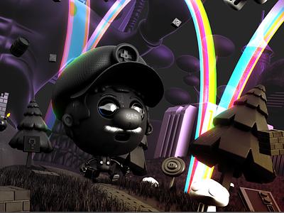dark mario adventure cycles characters blender 3d illustration