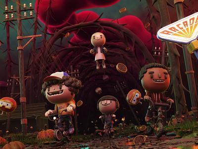Stranger things 3d strangerthings adventure blender characters illustration