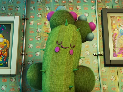 cactus art toy cute adventure characters cycles blender 3d illustration