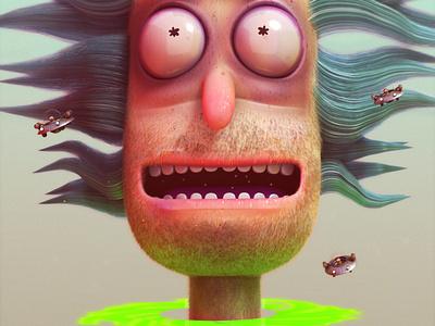 rick and morty cartoon rickandmorty cycles adventure 3d characters blender illustration