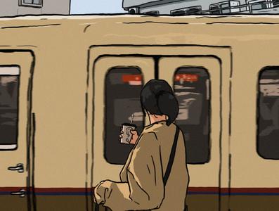 miss the train railway train design character girl illustration girl illustration art digital art digital illustration art digital drawing illustration