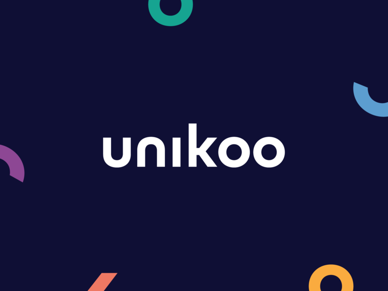 Unikoo branding logo design rebranding purple orange yellow green blue white design branding logo