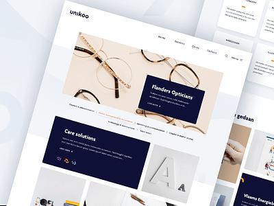 Unikoo website logo white brand brand identity shapes abstract blue rebranding branding yellow website webdesign