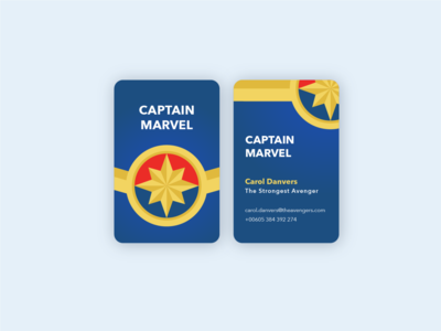 Captain Marvel card emblem illustration weeklywarmup graphicdesigner captainmarvel marvel red yellow blue graphicdesign businesscard