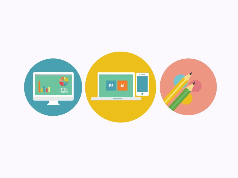 Rebound Icons icons rebound blue yellow pink flat icon graphs