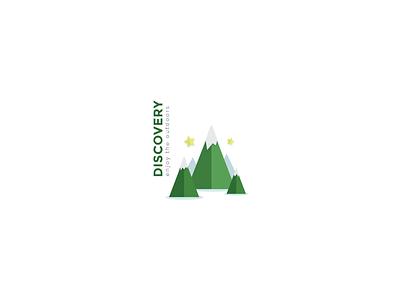 Rebound Logo  rebound logo mountains flat discover outdoors green stars white