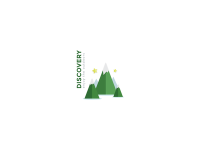 Rebound Logo  rebound logo mountains flat discover outdoors green stars white