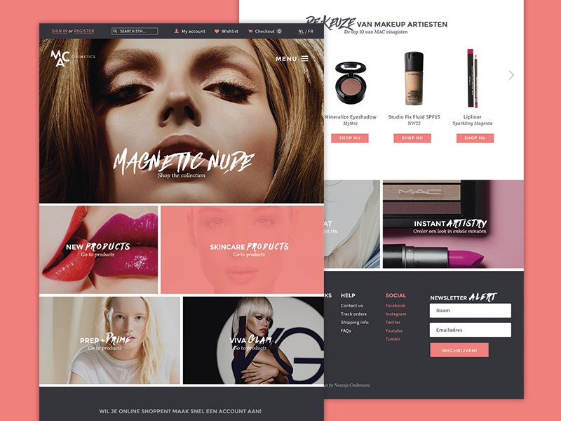MAC Redesign redesign personal logo website home makeup cosmetics salmon color grey white menu