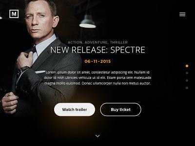 Daily UI #002 - Landing page movie spectre menu button orange black landing page