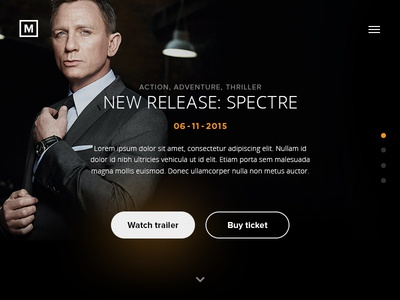 Daily UI #002 - Landing page movie spectre menu button orange black landing page