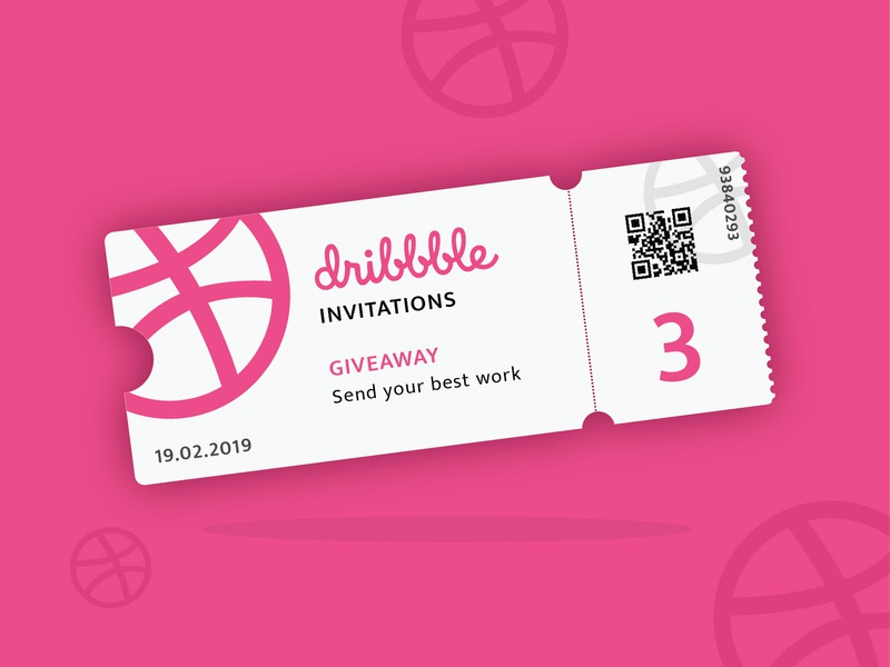 Three Dribbble Invites giveaway dribbble invite giveaway vector illustration ticket invitation dribbble invites dribbble pink white