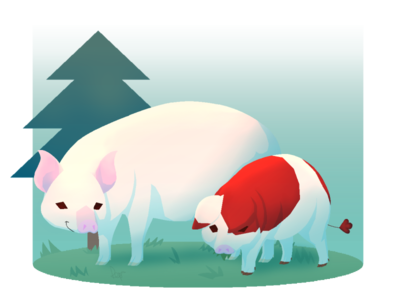 A sow and her year old piglet