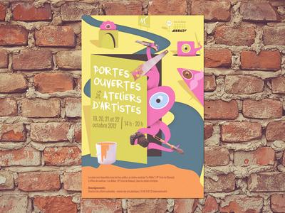 Open studio day poster poster design open studio day monsters illustration