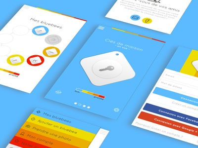 Bluebee App UI object tracker colorful application mobile