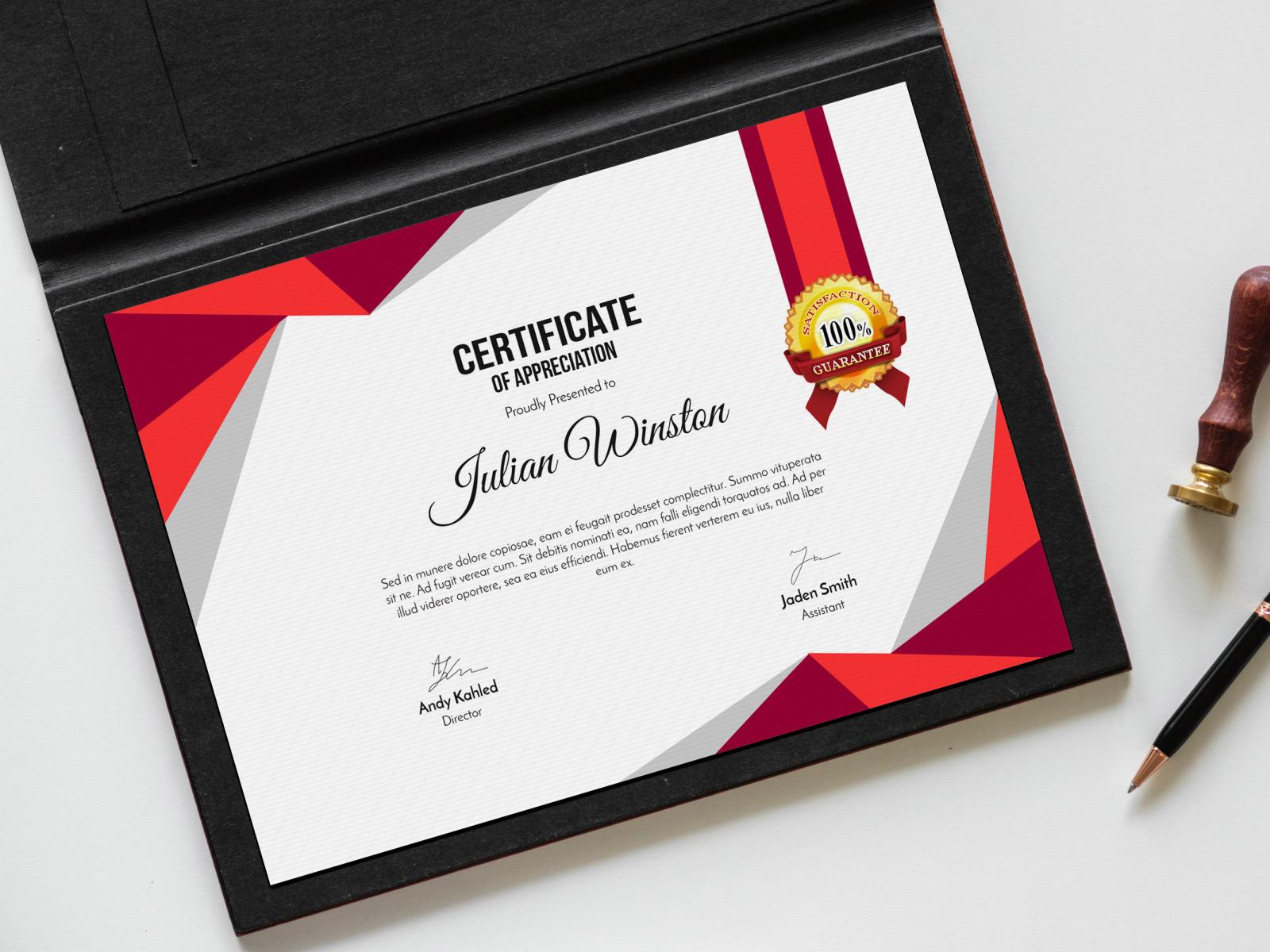 certificate mockup psd 4x dribbble shamim ahammed