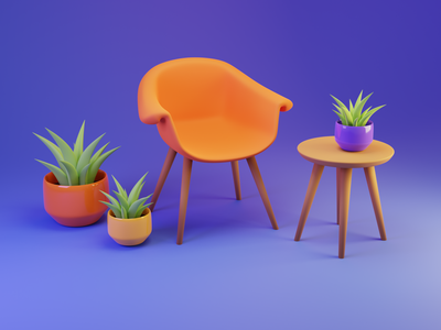 Cool Chair cool design fresh orange poly modeling art artwork composition chair 3d art maya 3d cinema4d blender3d blender 3d modeling 3d design illustration