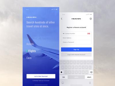 Heaven App - Registration Screens