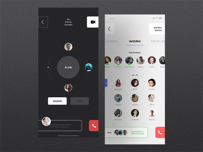 Mobile Messenger - Group Calls contact list group call people users contacts white black calling call messenger app