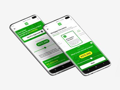 TD Mortgage Calculator banking app banking trust canada td green calculator app calculator ui calculator mortgage mobile android samsung samsung galaxy s10 ui app bank