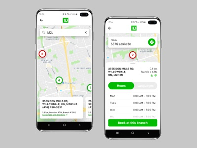 Find a Branch or an ATM Near You galaxy green mobile android app android search languages hours directions map td samsung galaxy s10 samsung app