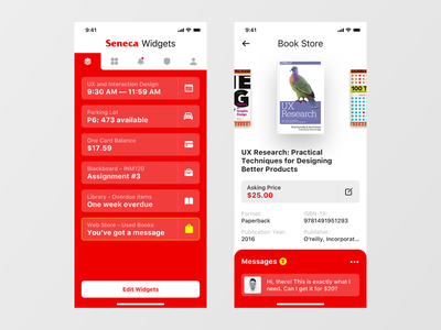 Seneca 2020 - Book Store messages research ux sell buy book red smart bookstore widgets scheduale books study university mobile app canada toronto seneca college