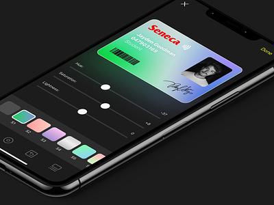 Seneca 2020 - Student ID Custom Design card gradient signature color edit study app design custom apple toronto canada seneca filters iphone app