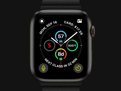 Seneca 2020 - Apple Watch Face watchface pay card one card date time microphone studying college canada toronto seneca rent room parking face apple watch