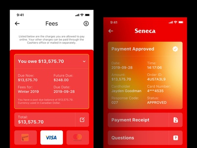Seneca 2020 - Payment Process ios apple iphone application receipt creditcard interact college seneca app payment app gold wechat mastercard visa dollars red payment pay