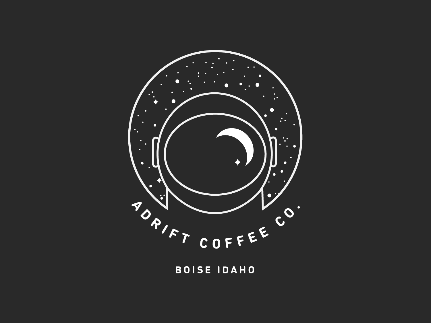 Adrift Coffee Company Pt. 1 moon space stars coffee coffee roaster astronaut icon flat illustration logo branding