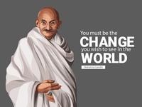 Mahatma Gandhi Vector Illustration