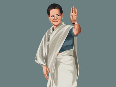 Sonia Gandhi Vector Illustration