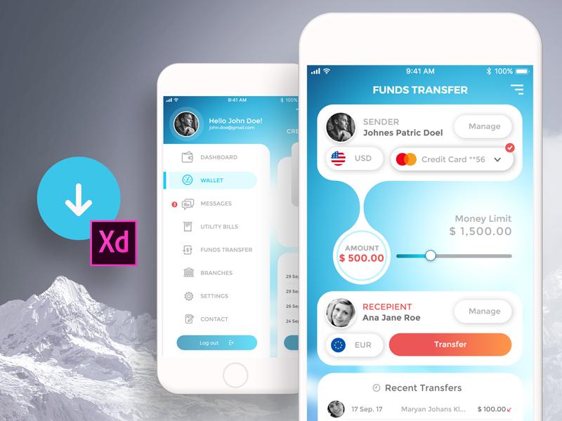 Free Mobile Banking UI Kit ui kit mobile bankig concept app bank of america bank ui free