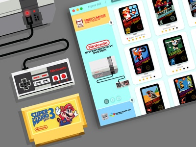 UI for Super Bit Emulator System retro games 8 bit snes super nintendo adobe xd emulator nes nintendo