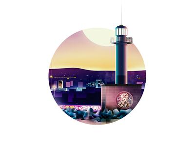 Varna Lighthouse by night