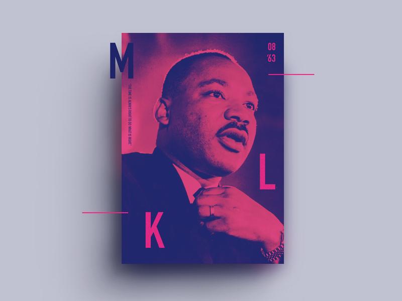 MLK 2020 celebration tribute neon day month history black mlk 2020 poster design