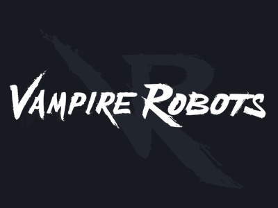 Vampire Robots logo brush script monogram logo