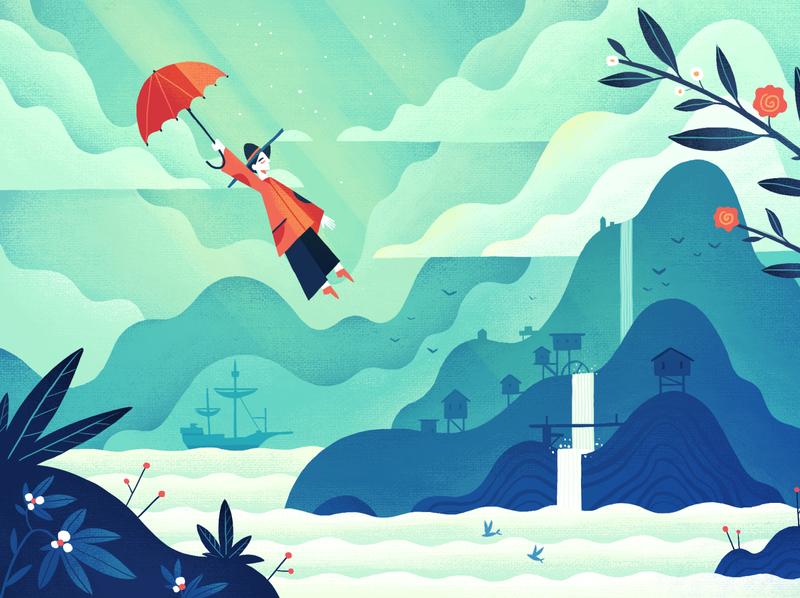 Sunny Island illustration illustration umbrella woman island mountain contrast original clouds landscape green sun ray waves art character 2d style dangartman texture