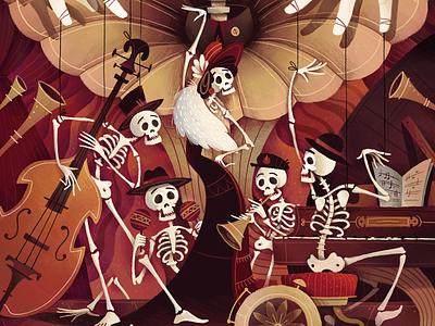 Skeleton Swing - Part 1 swing jazz oldschool music skeleton texture character gartman illustration fireart fireart studio