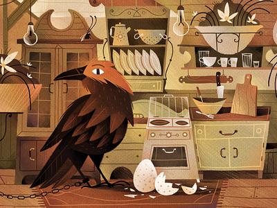 The Shelters project X kitchen room character gartman texture illustration raven shelter art fireart studio fireart