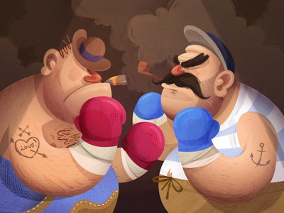 Bison Vs Cachalot sparring combate illustration fight fireart studio fireart boxing