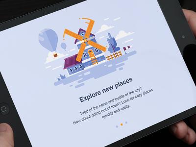 Explore new places!  app village mill illustration house flat gartman fireart studio fireart